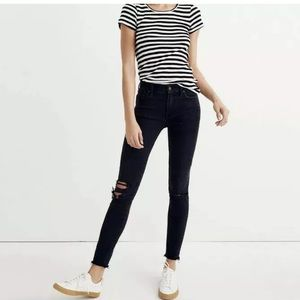 "Madewell Black Washed 9"" H-Rise Skinny Jeans 27"